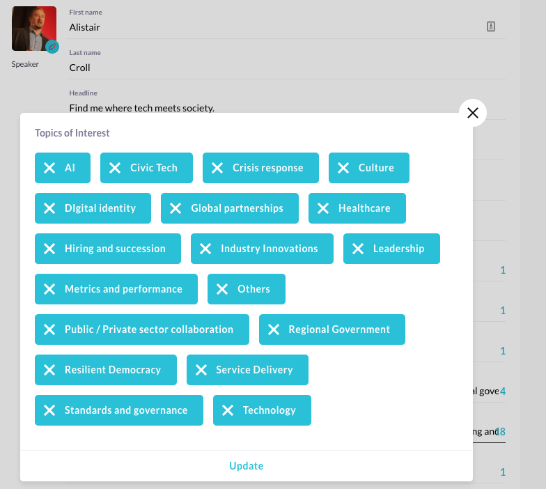 The networking options in the FWD50 platform, showing a list of topics of interest.