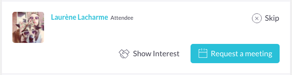 An example of a contact with options to show interest, request a meeting, or skip the recommendation.